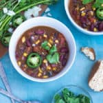 one-pot easy vegan chili recipe with black and kidney beans