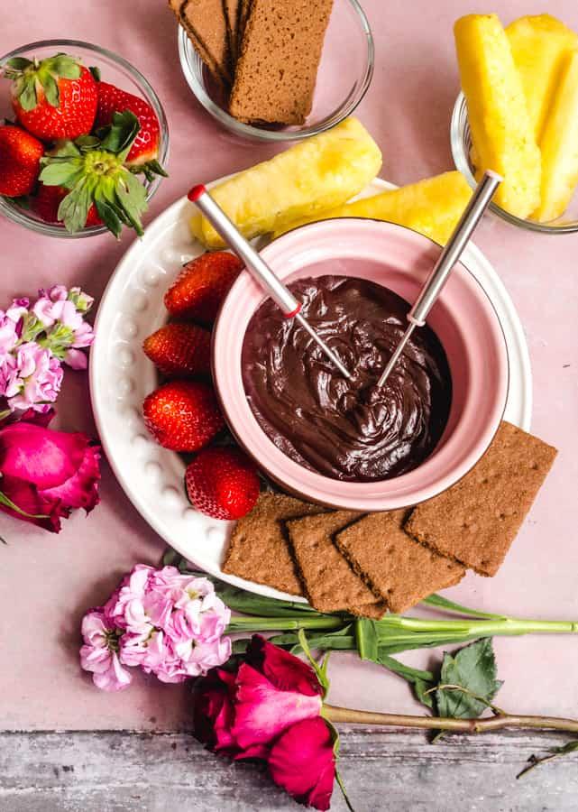 vegan chocolate fondue with coconut milk