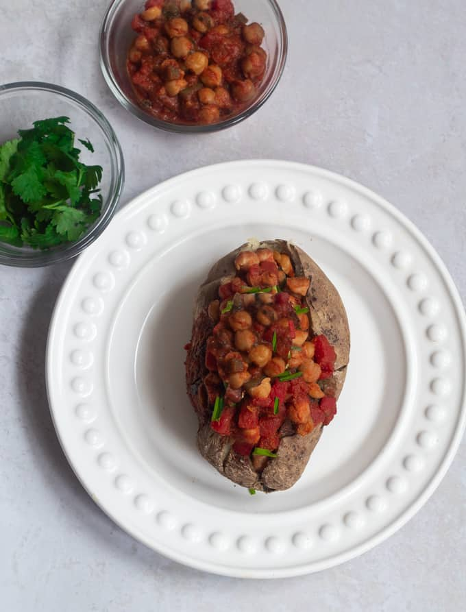 chickpea chili with baked potatoes