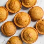 vegan jalapeno cheddar cheese cornbread muffins on marble background, how to make vegan cornbread