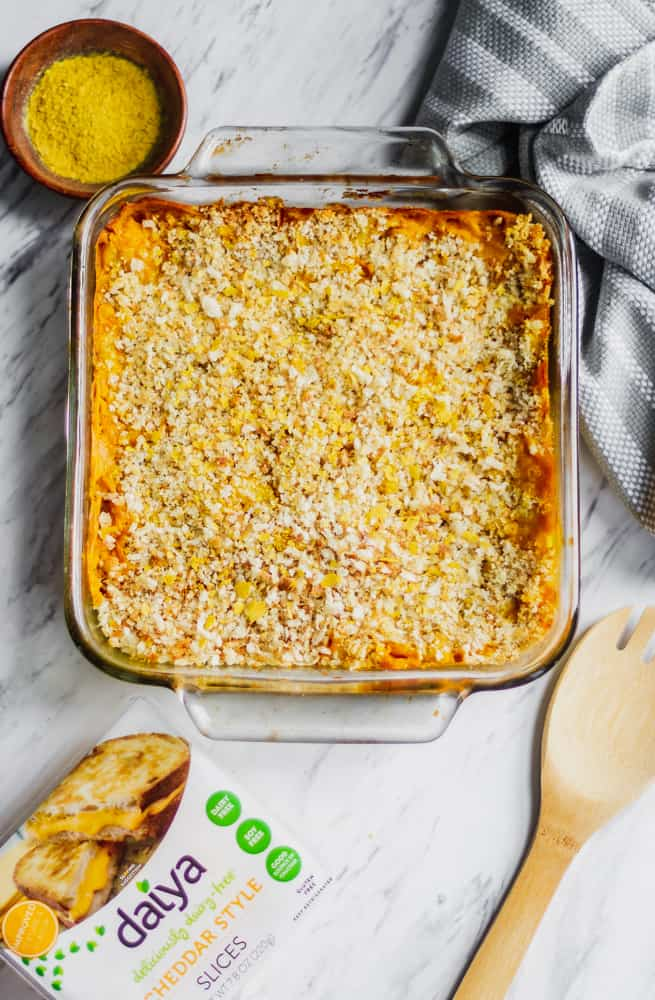 baked vegan macaroni and cheese in casserole dish. Use daiya cheddar cheese slices