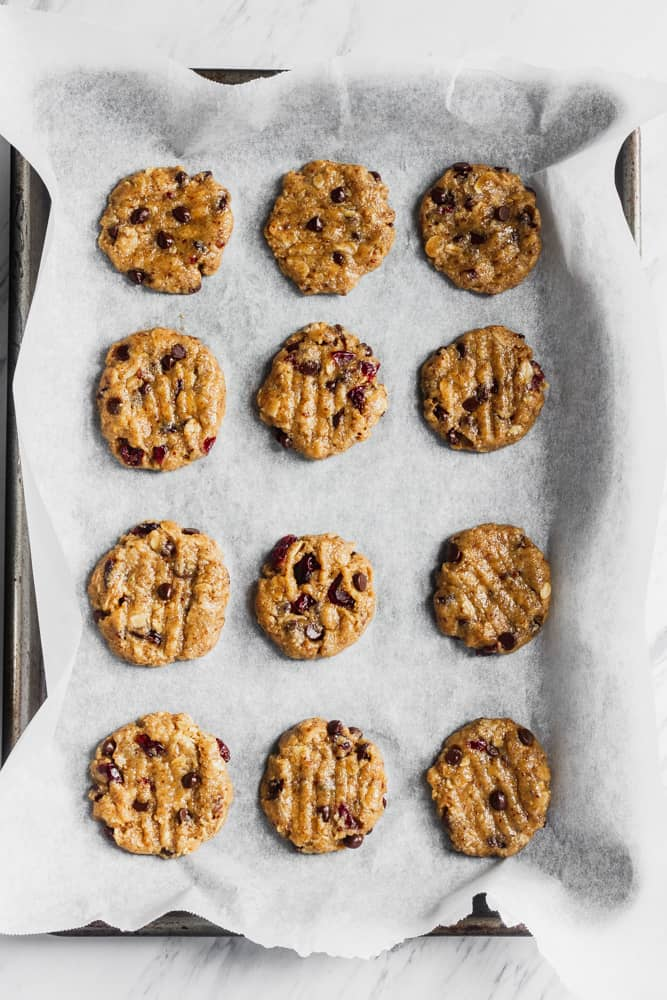 Vegan Oatmeal Cranberry Cookie dough pressed down on tray