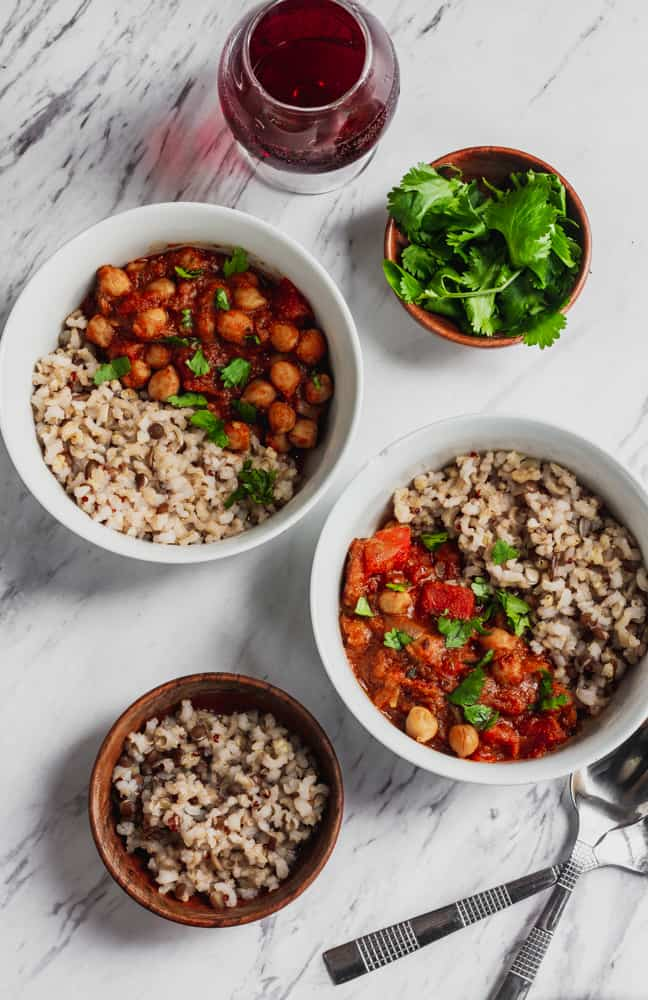 chana masala with rice and cilantro and wine