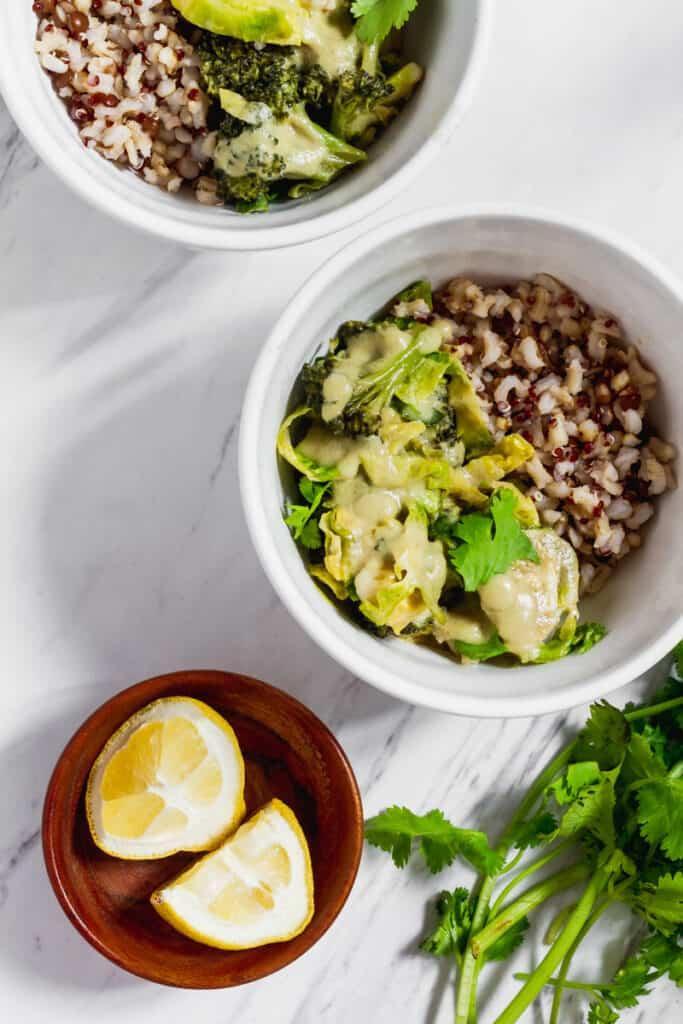 Vegan Thai Green Curry in white bowls