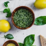 bowl of vegan basil pesto sauce with hemp seeds and nut-free