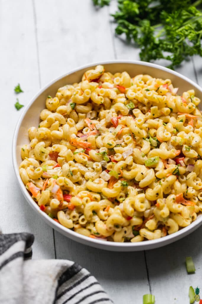 deli style macaroni with with carrots and bell peppers and celery
