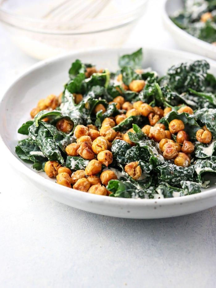 vegan kale salad with roasted chickpeas