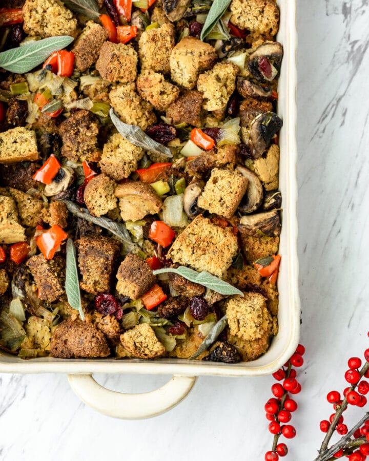 vegan cornbread stuffing recipe or dressing in white pan